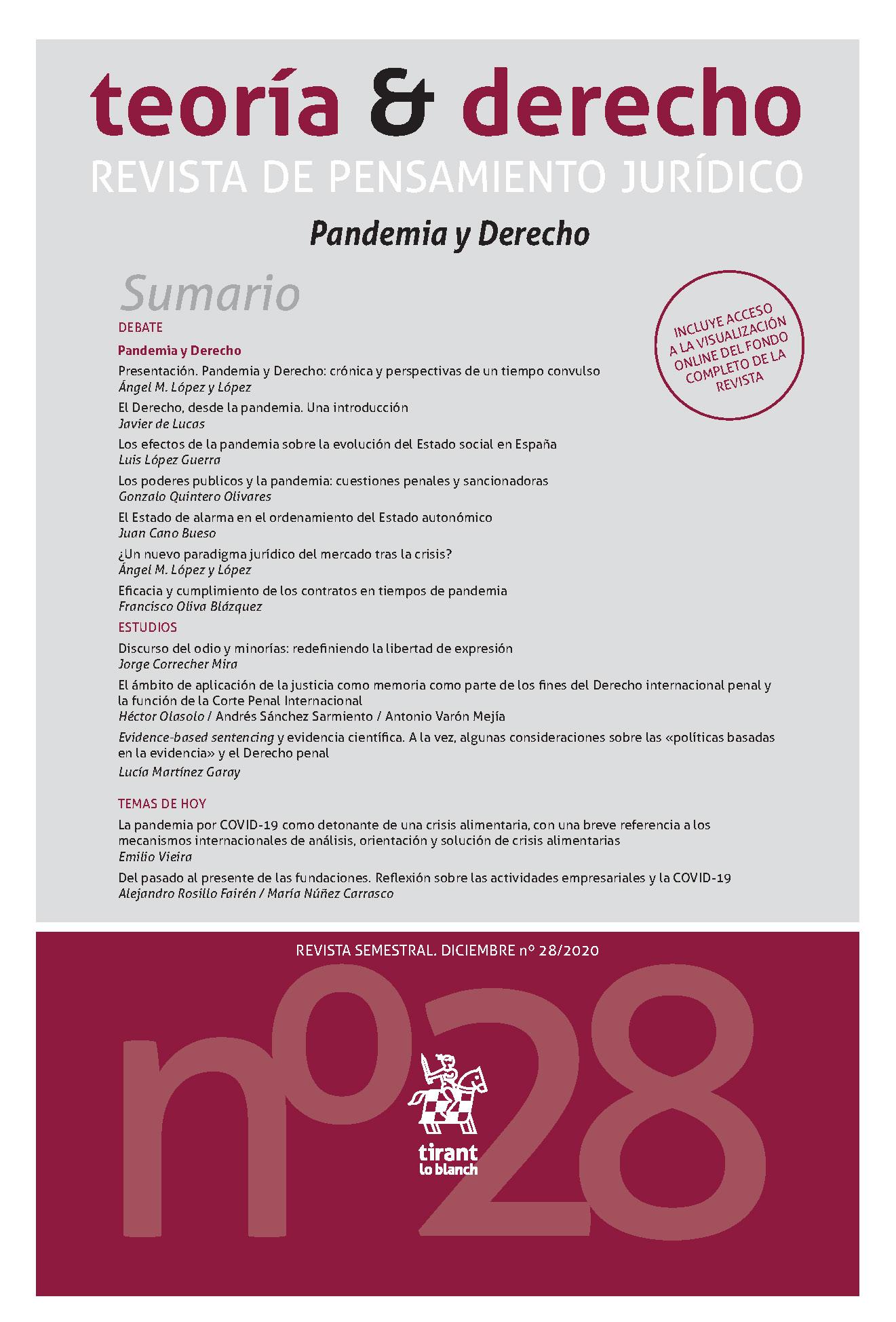 Cubierta número 28 de la revista, titulado Pandemia y Derecho